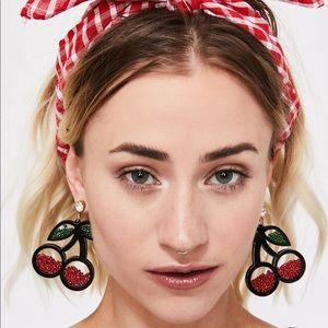 ✨2/$25✨NWT - EARRINGS - Snow globe shaker cherry